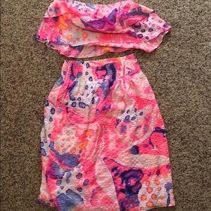 Lilly Pulitzer crop top and skirt  Berk Set